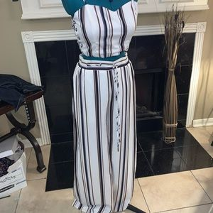 Two piece matching pant, cropped top set